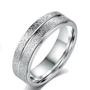 Stainless Steel Brushed Diamond cut Ring size 11